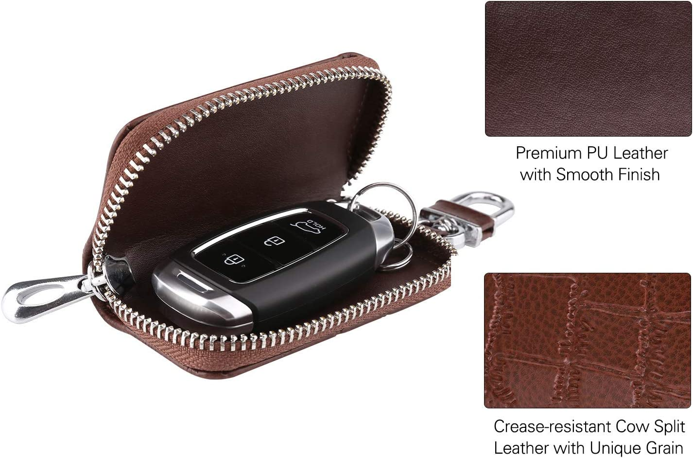 MoKo Car Key Case Coffee Support Remote Control Premium Genuine Leather Car Smart Keychain Coin Fob Punch Holder Key Zipper Bag with Metal Hook