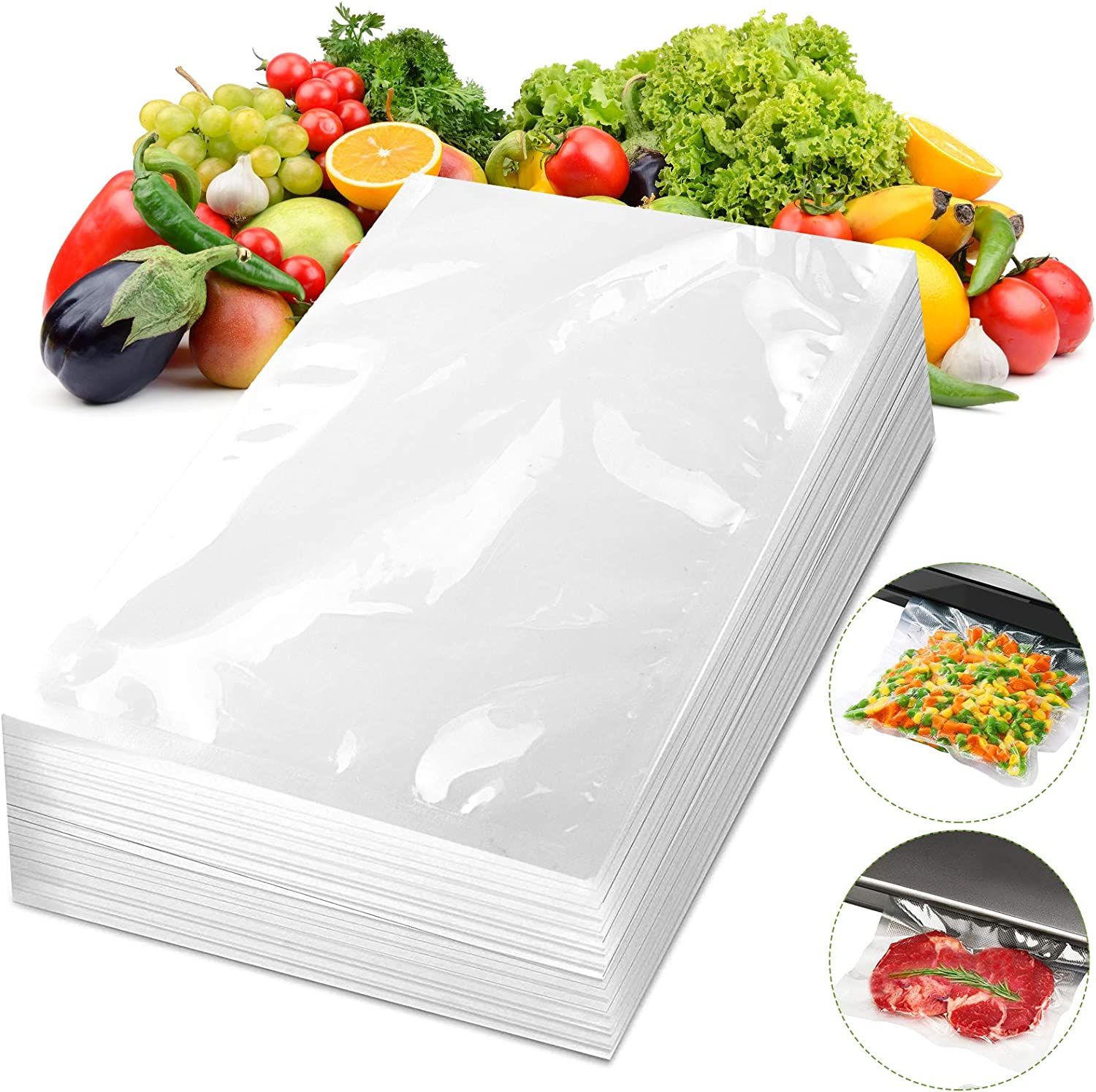 Vacuum Sealer Bags Upgrade 100 Counts Machines Embossed PreCut Sealer Bag for Seal a Meal Heat Seal Food VAC Storage Saver Heavy Duty BPA Safe Commercial Grade Sous Vide, Universal Size Pint 8''x 12''