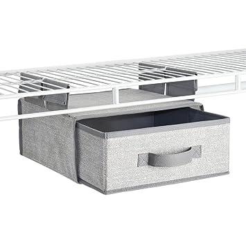 InterDesign Aldo Fabric Hanging Closet Storage Organizer, Drawer For Wire  Shelving   Gray