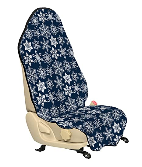 Amazoncom Ambesonne Snowflake Car Seat Cover Crochet Style White
