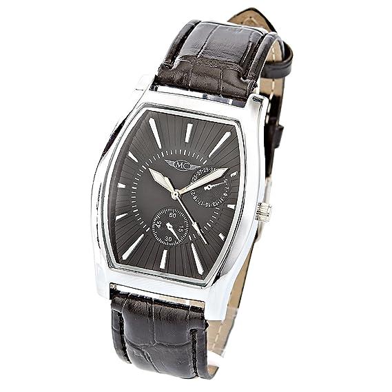 montre-concept – Reloj analógico Hombre – pulsera cuero negro esfera rectangular color plata fondo