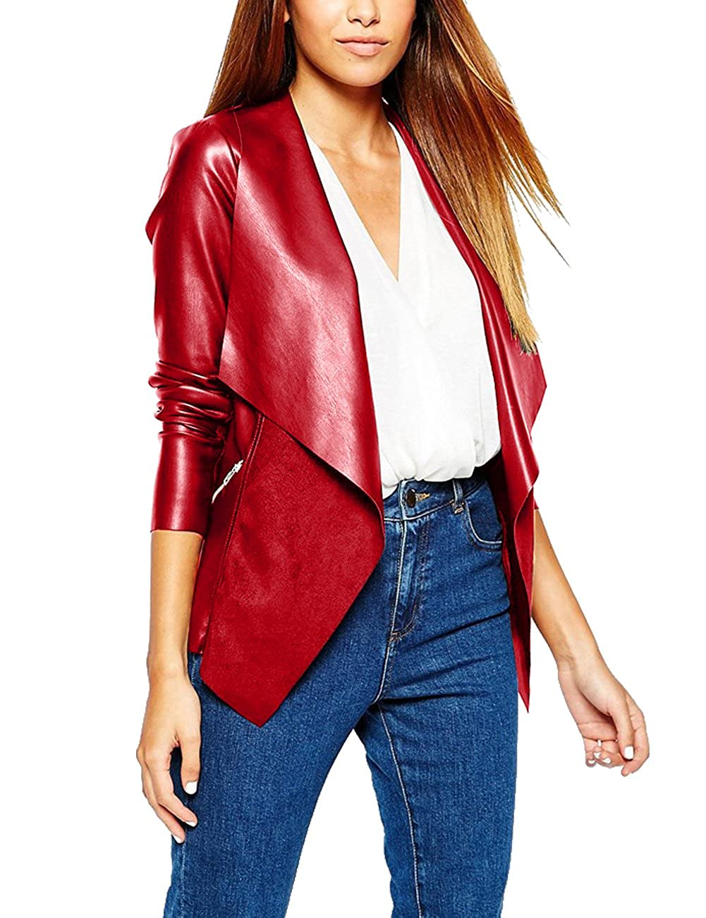 Eliacher Women's Slim Tailoring Faux Leather PU Short Jacket Coat