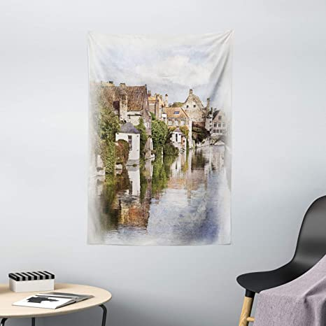 Amazon Com Ambesonne Abstract Tapestry Bruges Canal View Classic Gothic Architecture Building Watercolor Paint Wall Hanging For Bedroom Living Room Dorm Decor 40 X 60 Multicolor Home Kitchen