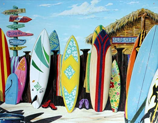 Amazon.com: Surf Cabaña Tin Sign 16 x 13 en: Home & Kitchen