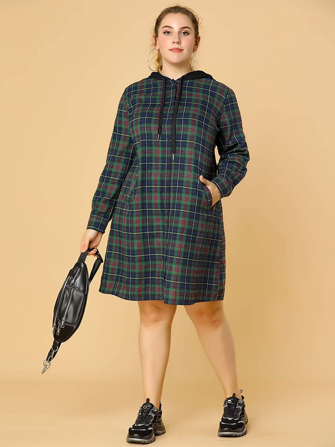 Green and Black Plaid Puff Sleeve Dress Size large  Extra Large Patrick/'s Day Dress plus size St