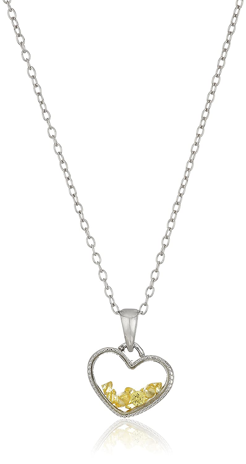 Hallmark Jewelry Sterling Silver Floating Birthstone Heart Shaker Pendant Necklace