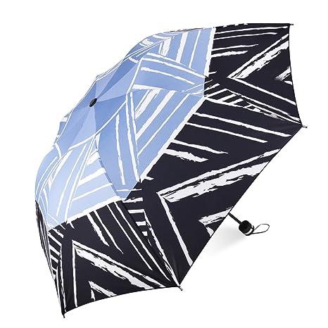 Tradeone Sombrilla Paraguas Plegable Compacto para el Sol & Lluvia 99% de Protección UV con