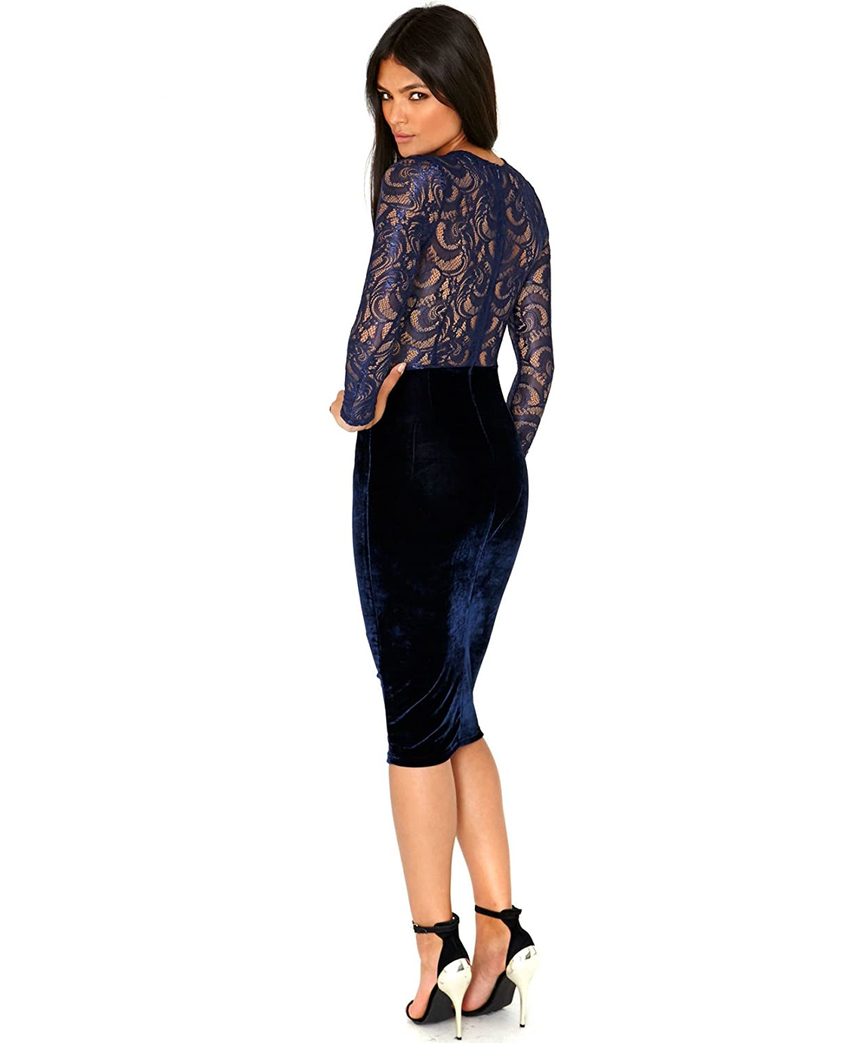 made2envy Velvet Lace Long Sleeve Midi Dress Set with Lace Panties