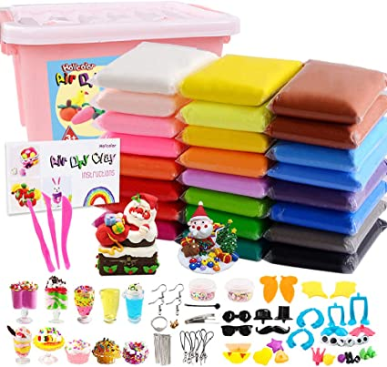Tools and Accessories Ultra Light Modeling Clay Set Colorful DIY Slime Creative Craft Clay Kit with Storage Box 24 Colors Air Dry Soft Clay