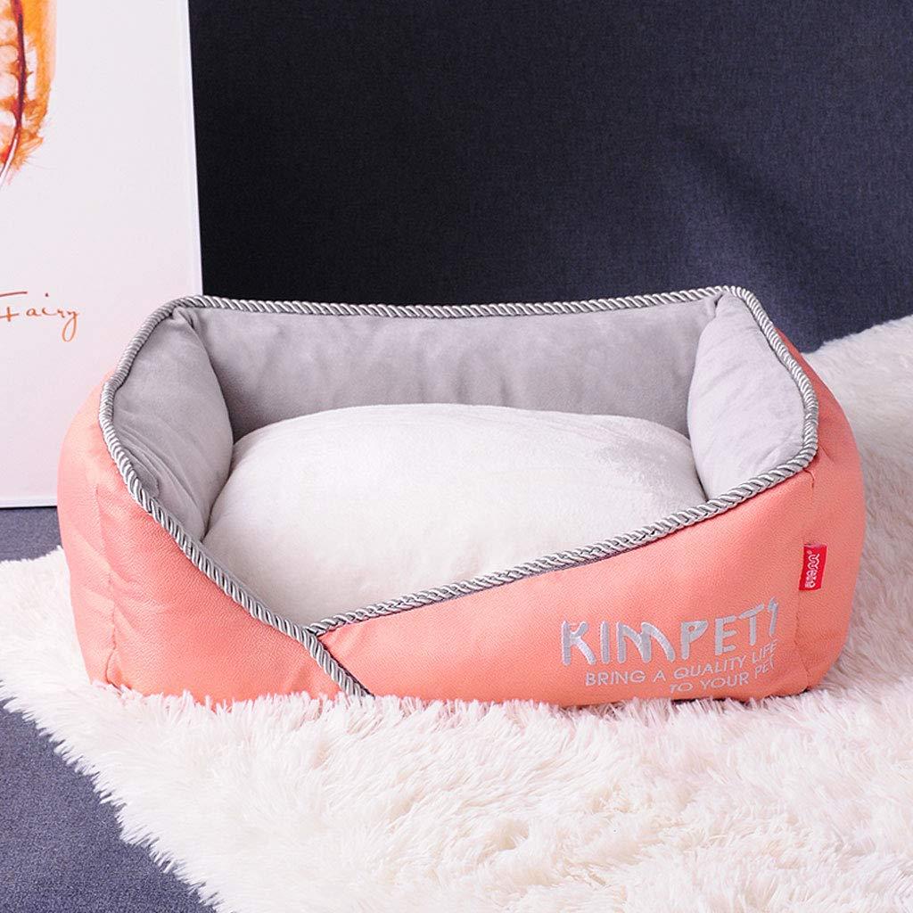 Peach orange 45x40x12cmYangMi pet Bed Kennel Cat Litter Large Medium Dog Winter Warm Thick Cat Litter Pet Labrador Autumn and Winter Dog Mat Dog Bed (color   Peach orange, Size   45x40x12cm)