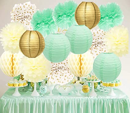bridal shower decorations mint cream gold birthday decoration tissue paper pom pom gold mint paper lantern