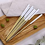 Autohome 5 Pairs Chopsticks Stainless Steel Tableware - White&Golden