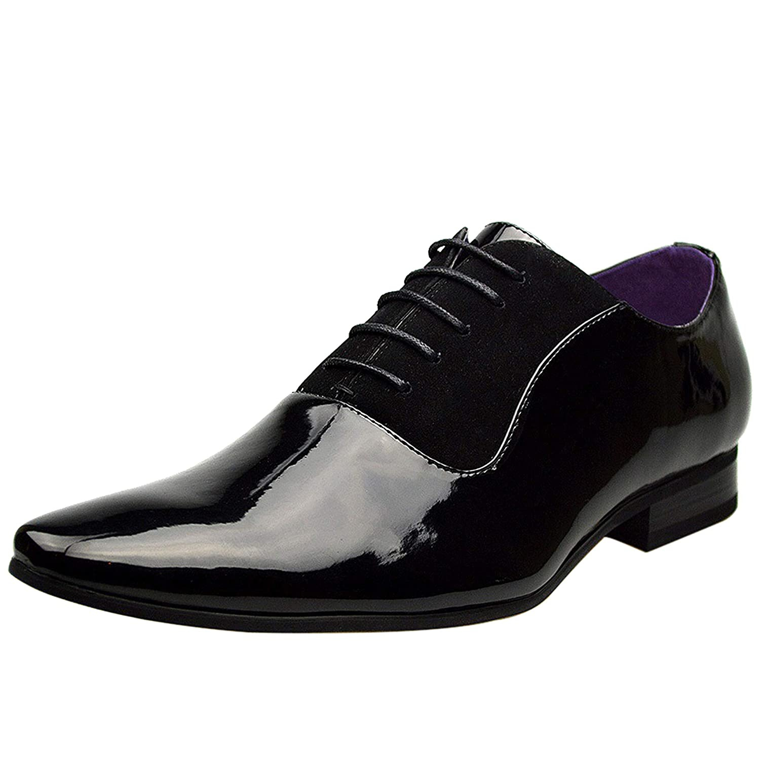 TALLA 41 EU. Para hombre New Casual piel de color negro Smart formal Lace Up Zapatos Reino Unido tamaño 6 7 8 9 10 11