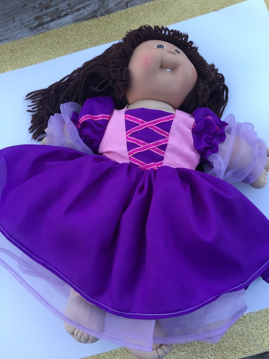 Fits 16 17 18 Cabbage Patch Kids Doll Clothes Princess Rapunzel Inspired Dress Pink Purple NO DOLL
