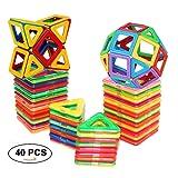 40 PCS Magnetic Tiles Building blocks Toys by DreambuilderToy