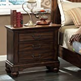 Furniture of America Tressa Stylish 3 Drawer Nightstand - Antique Dark Oak