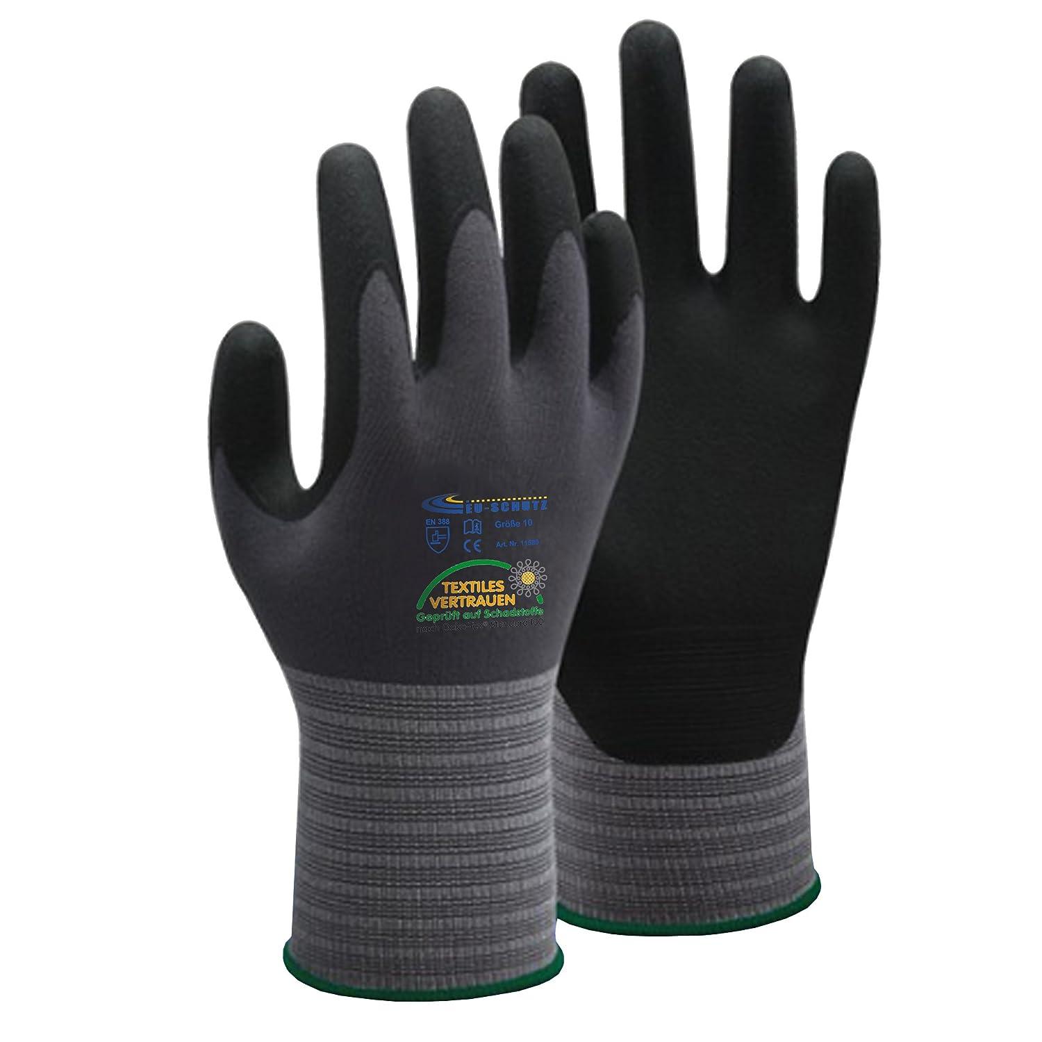 12 –  120 pares de nailon Guantes de punto guantes de trabajo Guantes de protecció n Guantes de montaje –  Despué s de EN388, Gris EU-Schutz