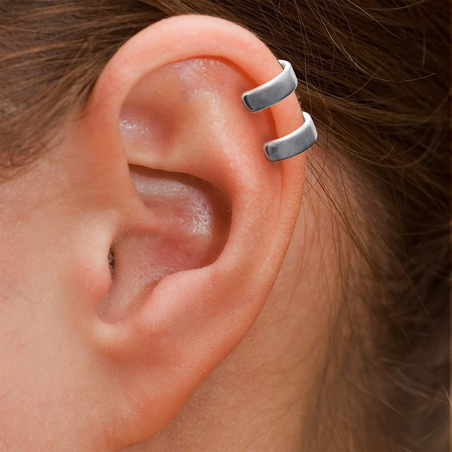 1 pc 925 Sterling Silver Round Double Ring Non-pierced Earring Cartilage Clip-on Ear Cuffs Wrap