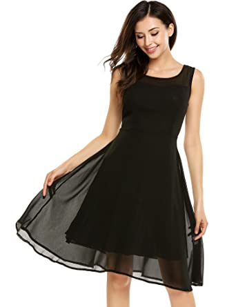 646e93830051 Image Unavailable. Image not available for. Color: Meharbour Little Black  Dress Chiffon Dresses for Women Party Wedding ...
