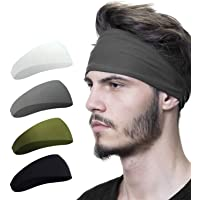 Mens Headband (4 Pack), Mens Sweatband & Sports Headband for Running, Crossfit, Cycling, Yoga, Basketball - Stretchy…