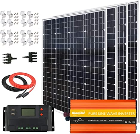Amazon Com 480 Watt Off Grid Solar Panel System 4pcs 120 Watt Monocrystalline Solar Panel 1000w 12v 110v Inverter 40a Charge Controller For Rv Home Boat 12 Volt Battery Systems 480w Inverter