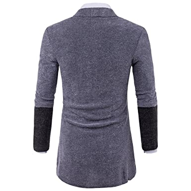 Inverlee-Mens Slim Fit Hooded Knit Sweater Fashion Cardigan Long Trench Coat Jacket at Amazon Mens Clothing store: