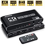4k HDR HDMI Switch, Koopman 4 Ports HDMI 2.0 Switcher Selector with IR Remote Control, Supports HDCP 2.2 4K@60Hz UltraHD HDR10 3D HD1080P Dolby DST, HDMI Splitter for PS4 Xbox Apple TV Fire Stick