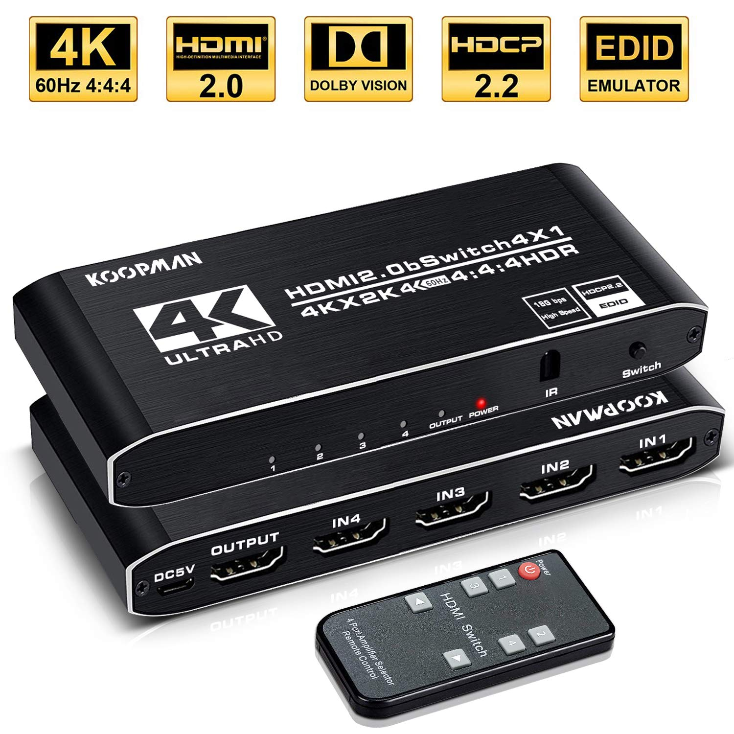 Distribution Electronics HDMI Splitter for PS4 Xbox Apple TV Fire ...
