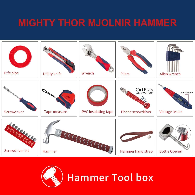 Mighty Thor Hammer - Juego de herramientas de 29 piezas con caja de almacenamiento de plástico: Amazon.es: Bricolaje y herramientas