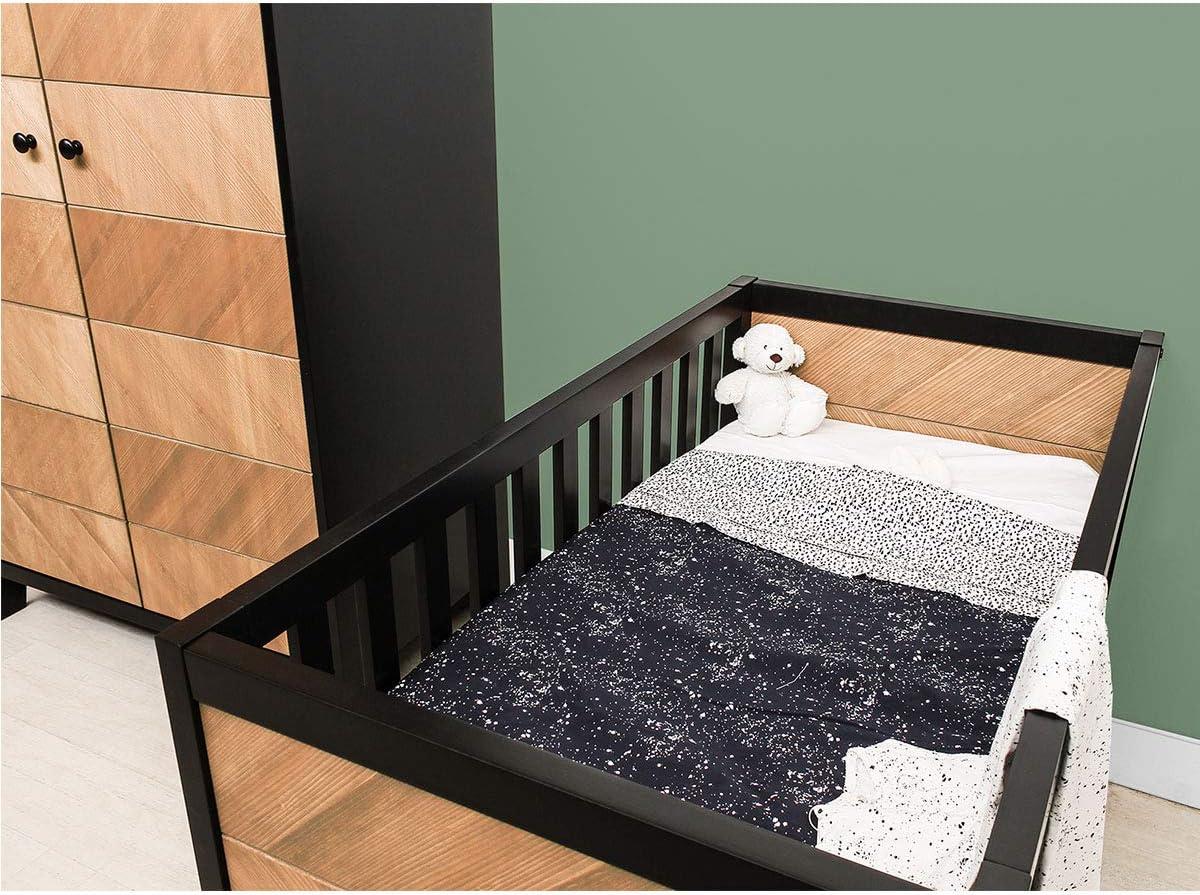 Noir et bois naturel Lit b/éb/é 60x120 Job