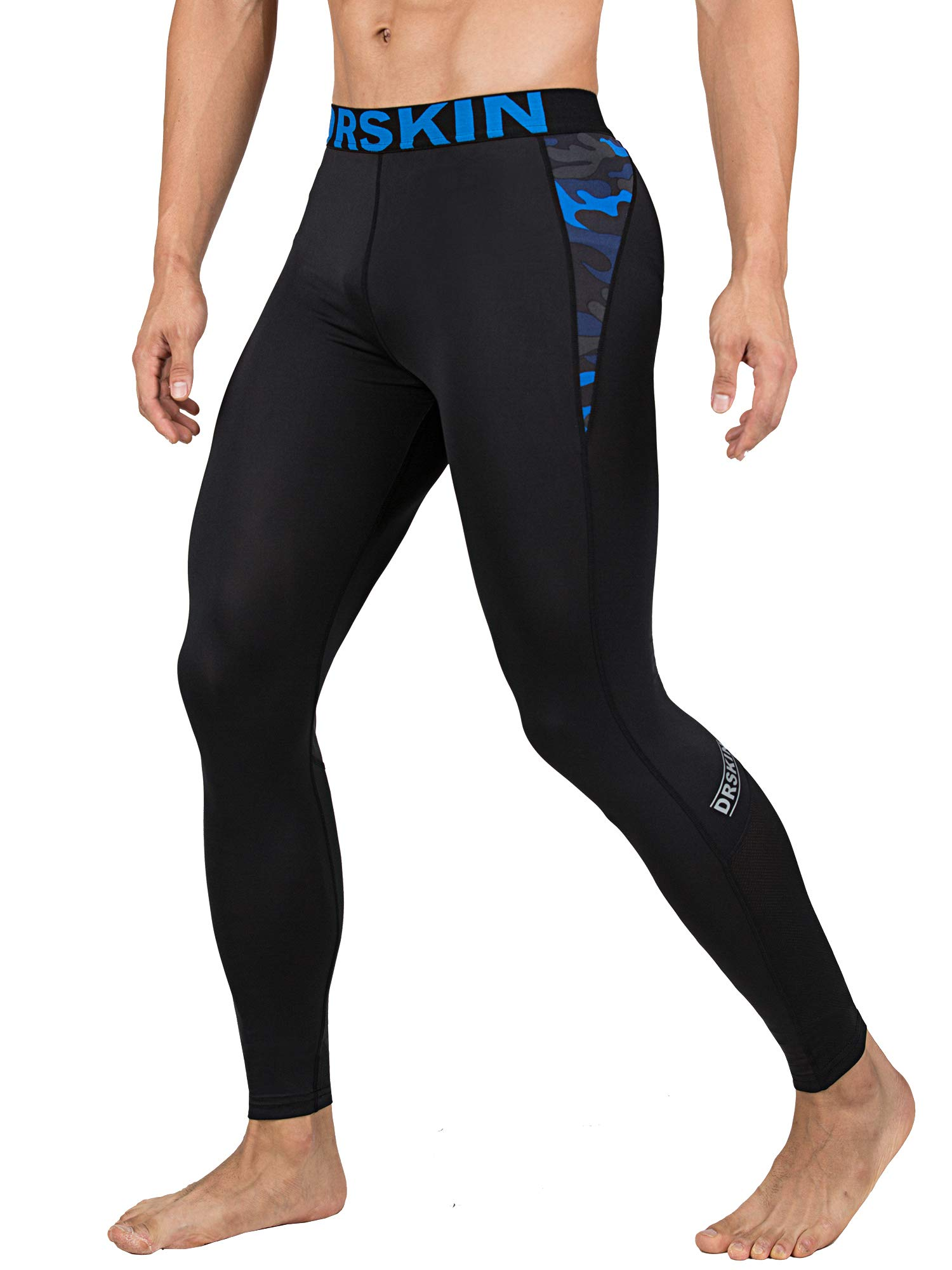 DRSKIN 1~3 Pack Men's Compression Dry Cool Sports Tights Pants Baselayer Running Leggings Yoga (Packs of 1, 2, or 3 Deals) (Came B-MBU07, S)