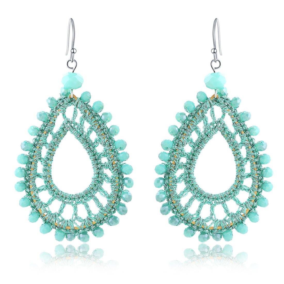X&WILL Handmade Crochet Dangle Earrings for Women Bohemian Jewelry Teardrop