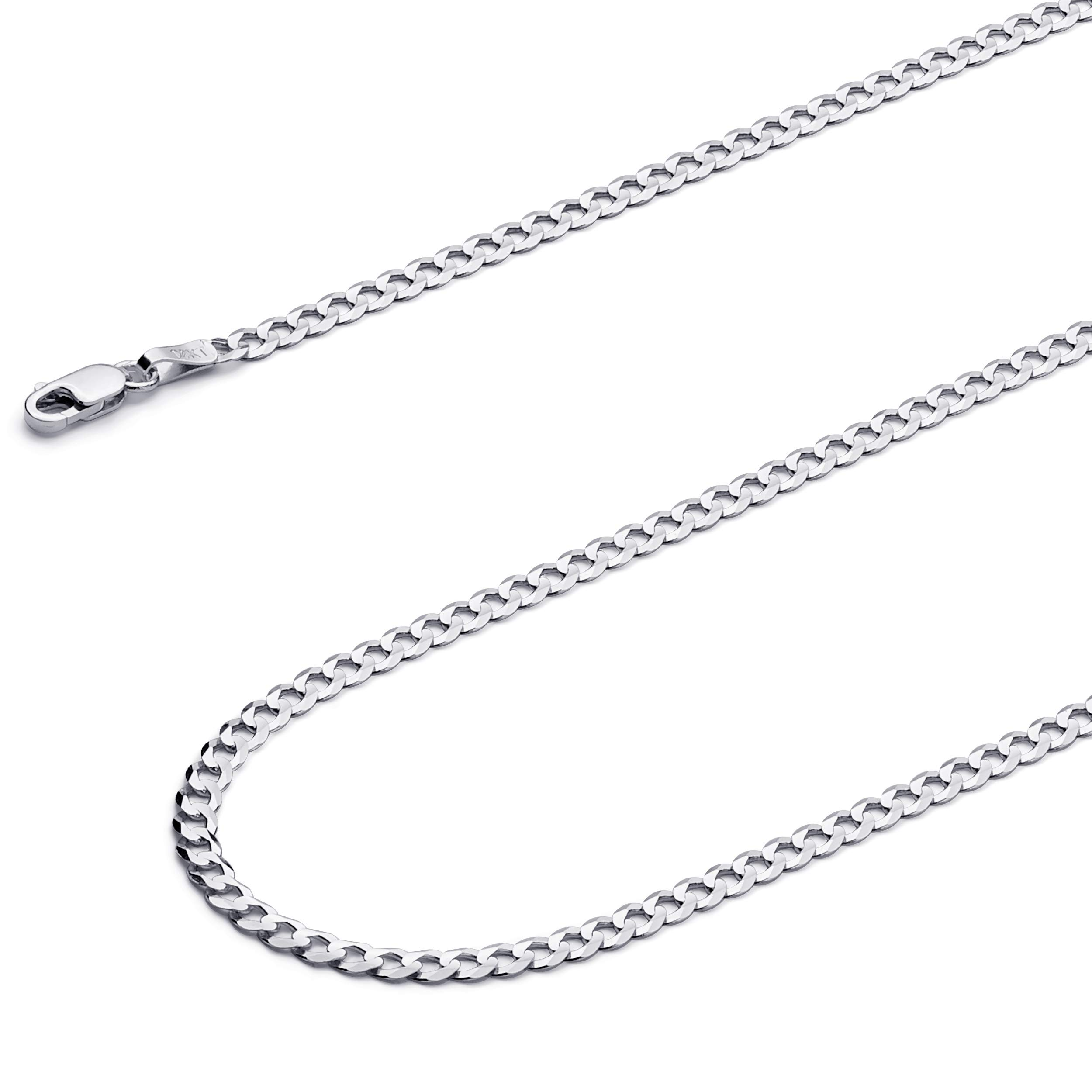 Wellingsale 14k White Gold SOLID 3mm Polished Cuban Concaved Curb Chain Necklace - 18''