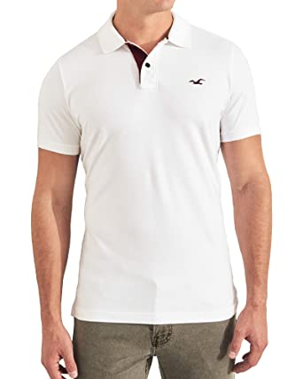 270c2f6cc Hollister Men's White Muscle Fit Polo Shirts Medium at Amazon Men's  Clothing store: