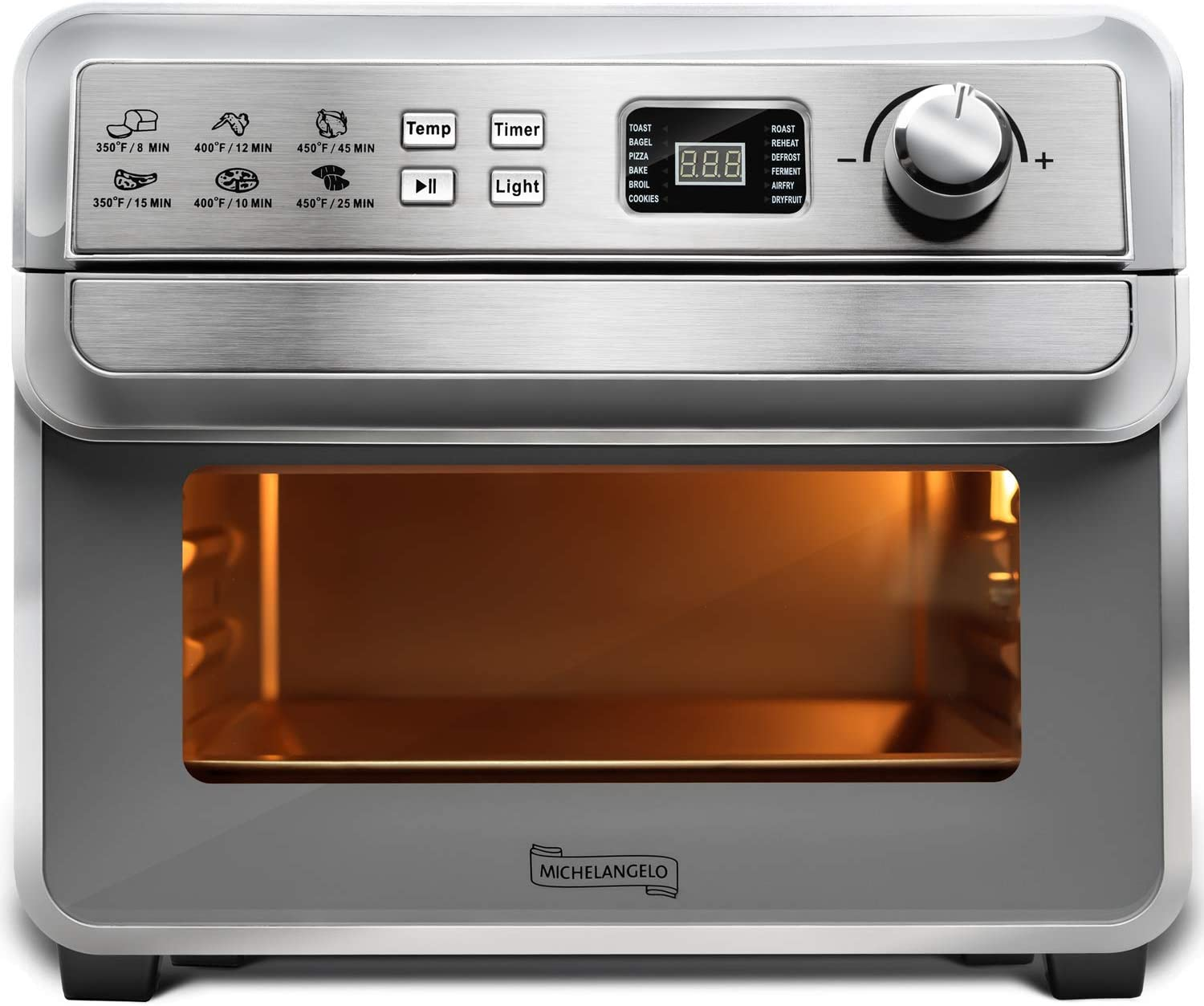 Michelangelo Air Fryer Toaster Oven Combo, Stainless Steel Air Fryer Oven Silver, Air Fryer Toaster, Bagel, Broil, Bake, Pizz Reheat, 22L Large Air Fry Toaster, 1700W