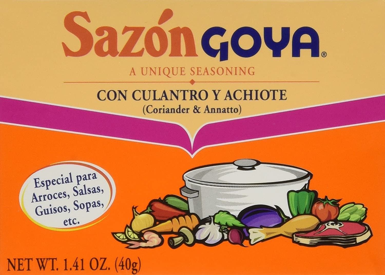 Amazon.com : Goya Foods Sazon Culantro y Achiote, 1.41-Ounce (Pack of 3) : Grocery & Gourmet Food