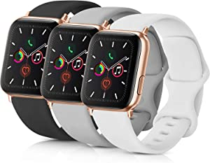 Pack 3 Compatible with Apple Watch Band Men, Soft Silicone Band Compatible iWatch Series 4, Series 3, Series 2, Series 1 (Black/Gray/White, 42mm/44mm-S/M)
