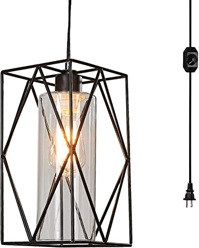 Ganeed Plug-in Pendant Lights with Glass Lamp-Shade,Industrial Metal Swag Hanging Light,Vintage Hanging Pendant Lamps with Long Hanging Cord and On Off Switch for Kitchen Island Dining Table