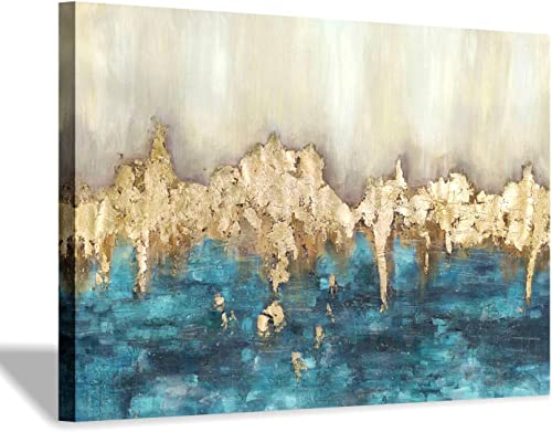 Hand Painted Canvas Wall Art Large Dark Blue Gold Abstract Artwork Textured Painting for Living Room 45 x 30 x 1 Panel
