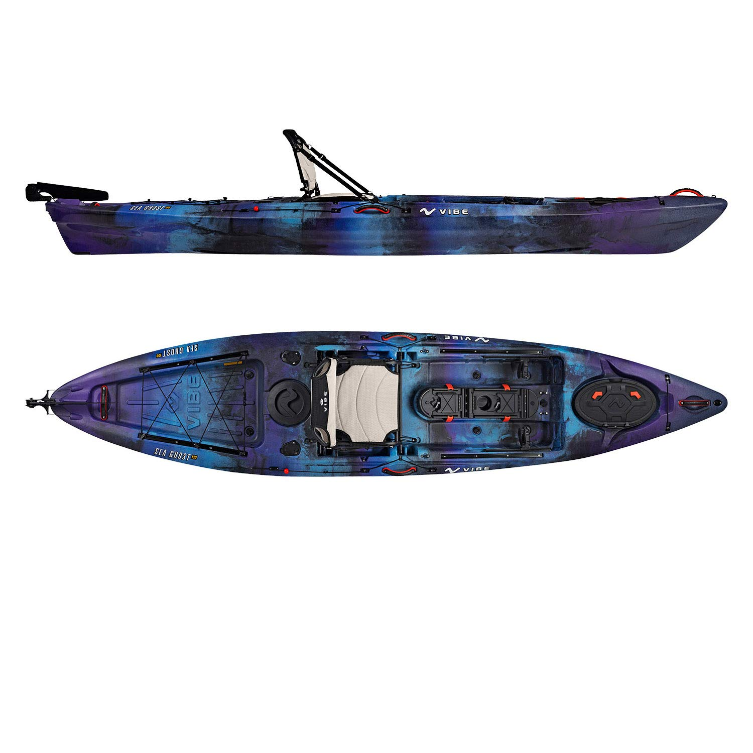 Vibe Kayaks Sea Ghost 130 | 13 Foot | Angler Sit On Top Fishing Kayak with Paddle and Adjustable Hero Comfort Seat (Galaxy)