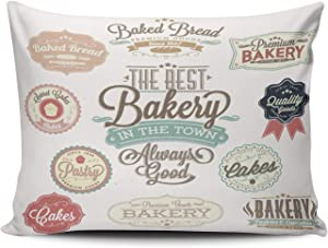 AIHUAW Home Decorative Cushion Covers Throw Pillow Case Vintage Retro Bakery Badges and Labels Pillowcases Lumbar 12x20 Inches One Sided Printed (Set of 1)