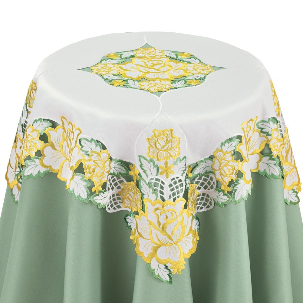 Square Yellow Embroidered Elegant Rose Table Linens