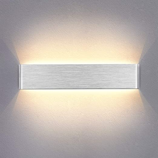 Yafido Aplique Pared Interior LED 14W 40CM Lámpara de pared Moderna Blanco Cálido 220V plata cepillado para Salon Pasillo Escalera Dormitorio: Amazon.es: Iluminación