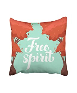 Emvency Red Abstract Colorful Calligraphy Lettering Autumn Trees Free Spirit Description Cartoon Color Cozy Cute Throw Pillow Covers 16x16 Inch Decorative Cover Pillowcase Cases Case Two Side