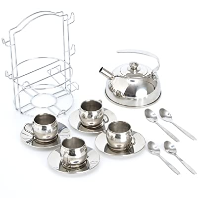 Timy Play Tea Party Set 14pcs for Girls, BPA Free Stainless Steel Teapot Pretend Kitchen Toys: Toys & Games