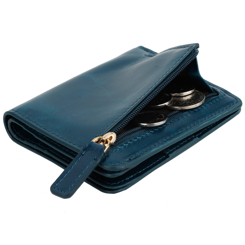 YALUXE Women's Mini Small Leather Pocket Wallet with ID Window Blue by YALUXE (Image #4)