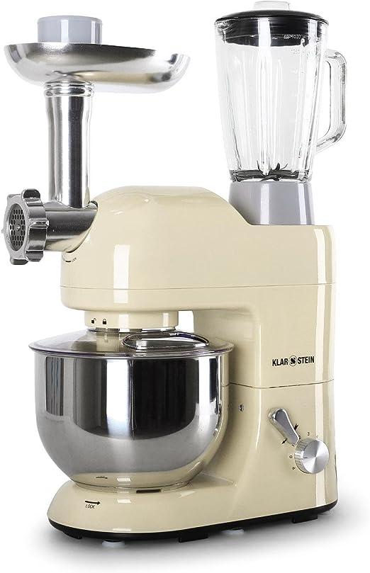 Klarstein Lucia Morena - Robot de cocina multifunción, batidora, para hacer pasta, montar nata (1200 W, 5,2 L, 6 velocidades, de acero inoxidable): Amazon.es: Hogar