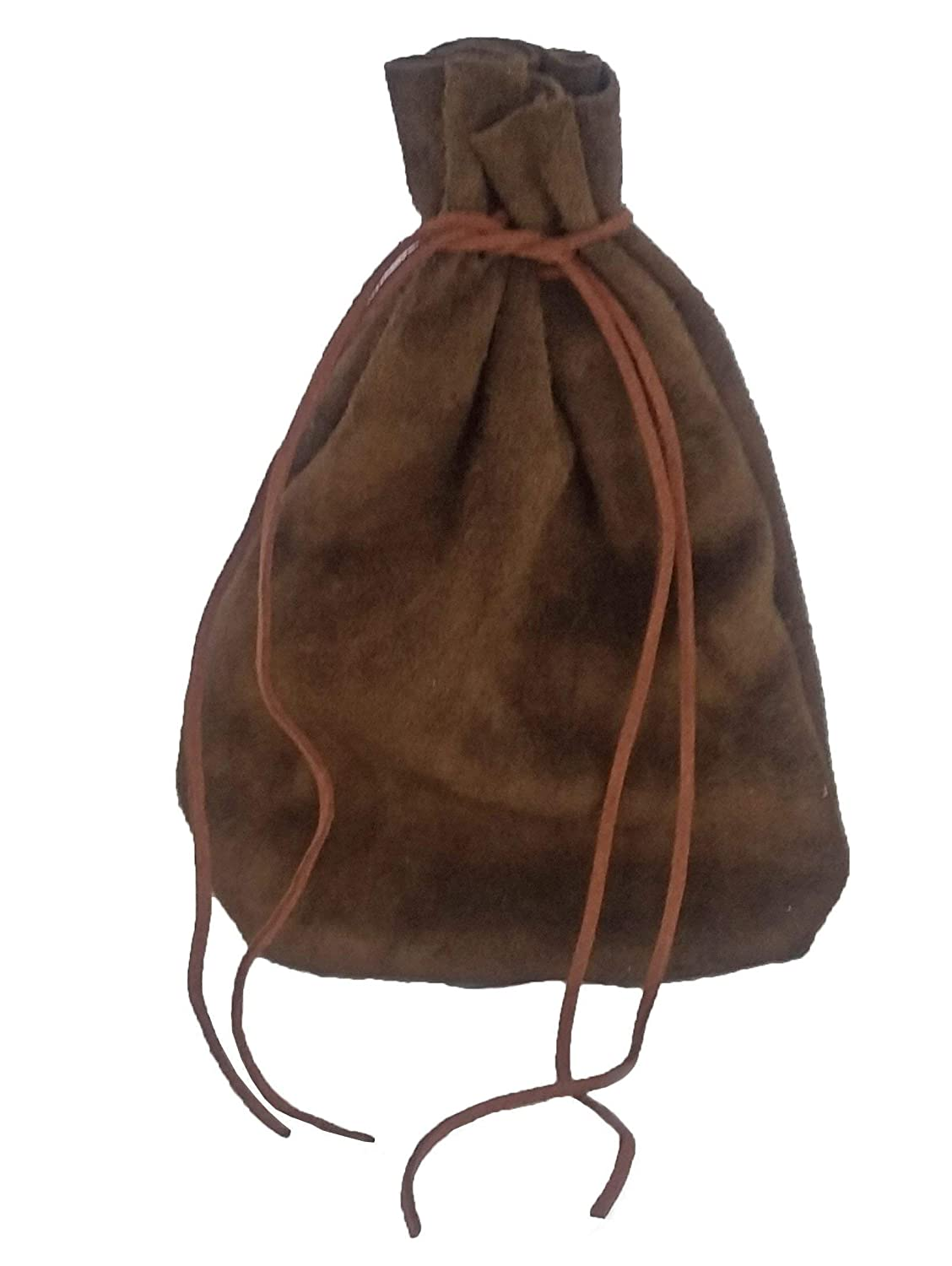Pouch Drawstring Heavy Suede Leather 5 X 7.5 Inches, Brown