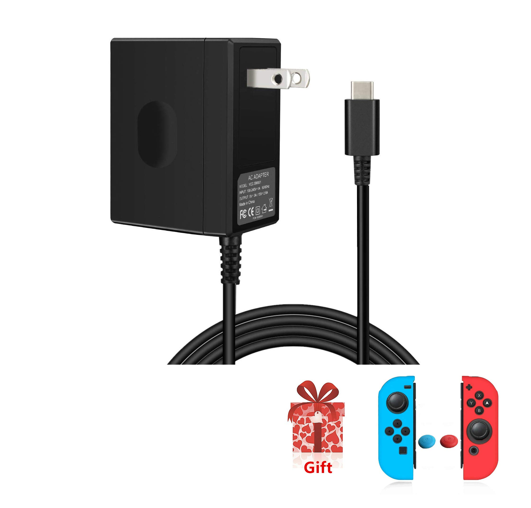 Nintendo Switch Power Adapter, Selkie Switch Charger, Power Adapter for Nintendo Switch 15V 2.6A Fast Charging Kit for Switch Dock and Pro Controller (Support TV Mode),Black