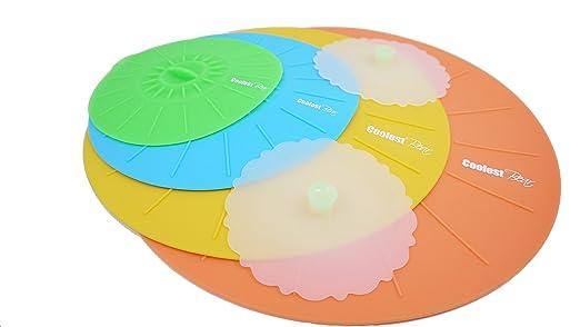 Tapa de silicona, juego de 4 con 2 tapas de vaso, sin BPA, fuerte ...